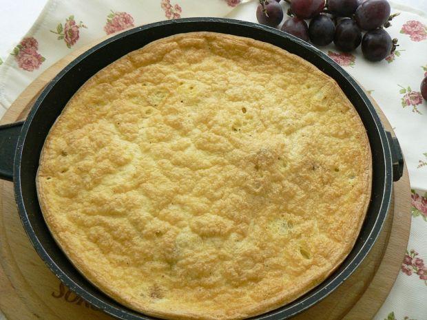 Omlet zapiekany z porem i pieczarkami