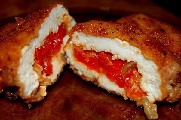 PIerś kurczaka z paprykowym farszem:)