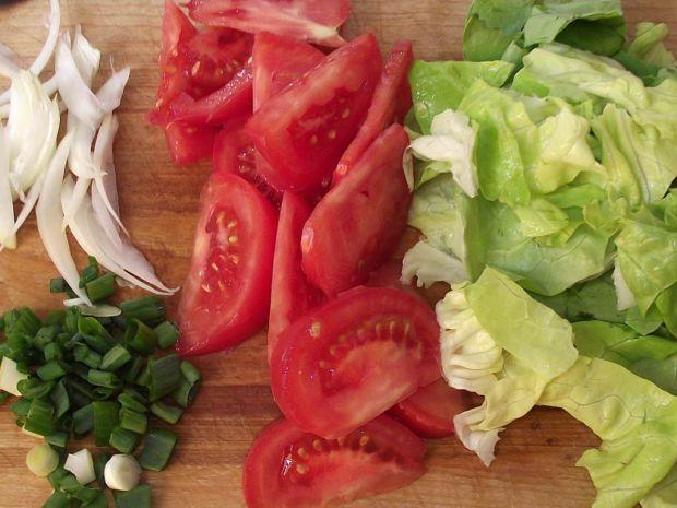 Pikantny gyros z warzywami w tortilli