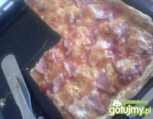 Pizza z mozzarellą i szynką