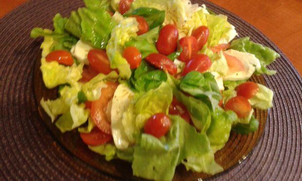Pomidory  mozzarellą , listkami sałaty i bazyli