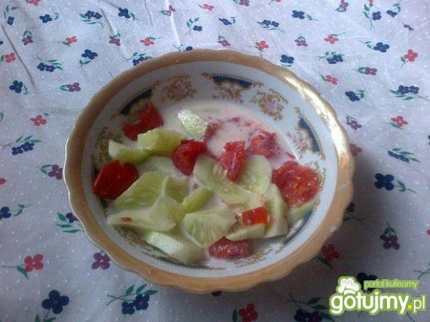 Prosta sałatka pomidorowo- ogórkowa