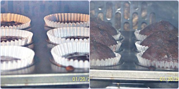 Razowe muffiny podwójnie czekoladowe