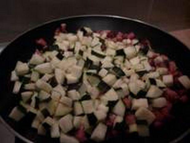 Risotto cukiniowo - kukurydziane na surowym boczku