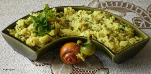 Ryż na bulionie w zielone ,, piegi ,,