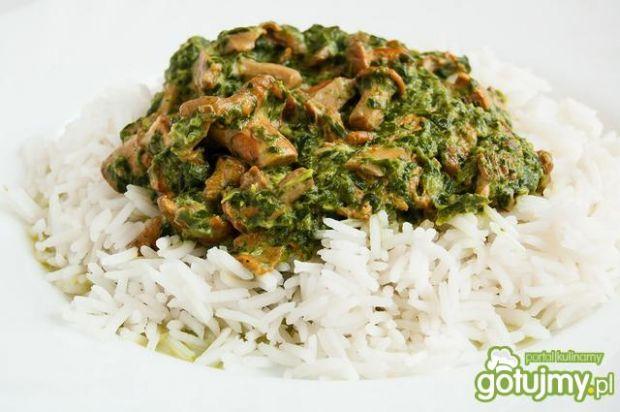 ryż z kurkami i szpinakiem