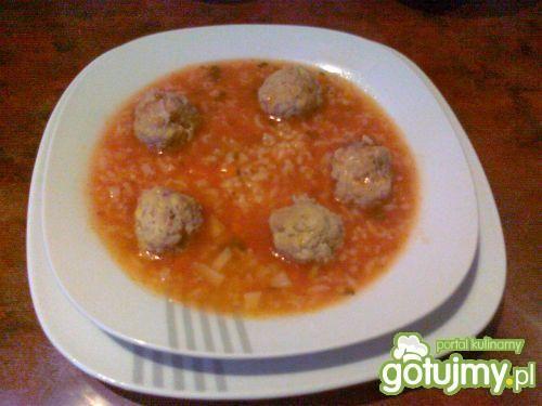 Ryżowa zupa pomidorowa z pulpetami