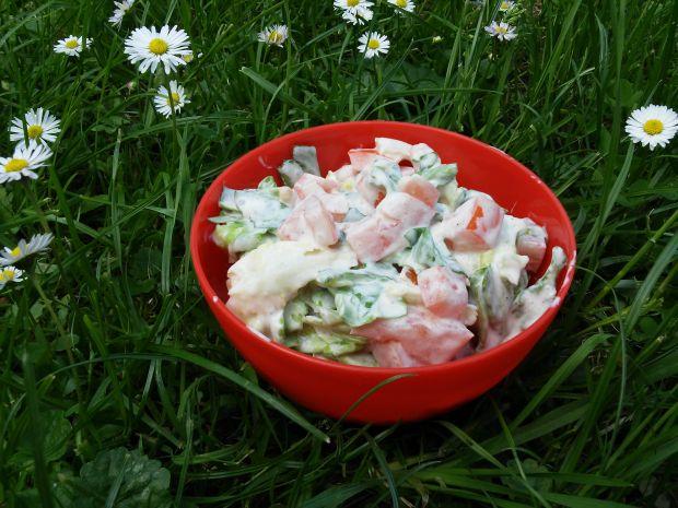 Sałata masłowa z pomidorami w jogurcie greckim