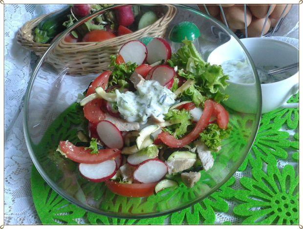 Sałata z gotowanym indykiem i sosem tzatziki