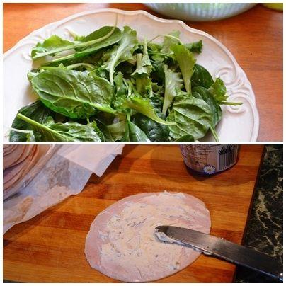 Sałatka na szpinaku z szynką