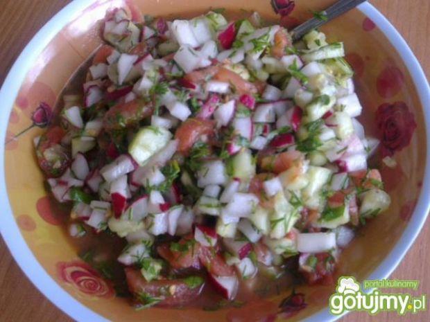 Sałatka warzywna z kiszonym ogórkiem
