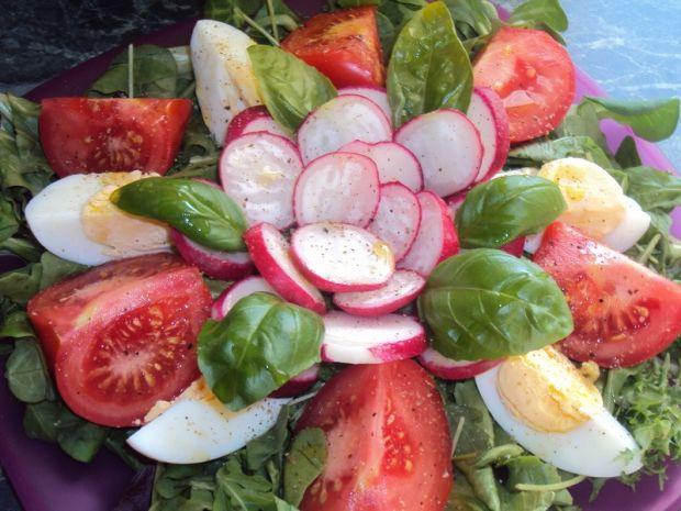 Sałatka z jajkiem, pomidorem i rzodkiewką