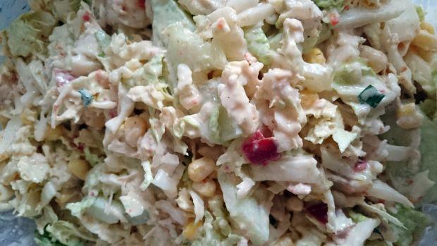 Sałatka z makaronem, kurczakiem, kapustą -2 wersje