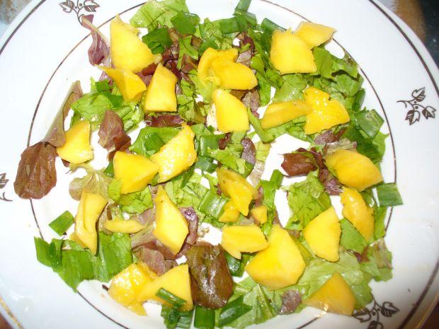 Sałatka z mango, pomidora i fileta na parze