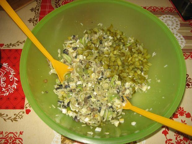 Sałatka z pieczarkami, porem i ryżem