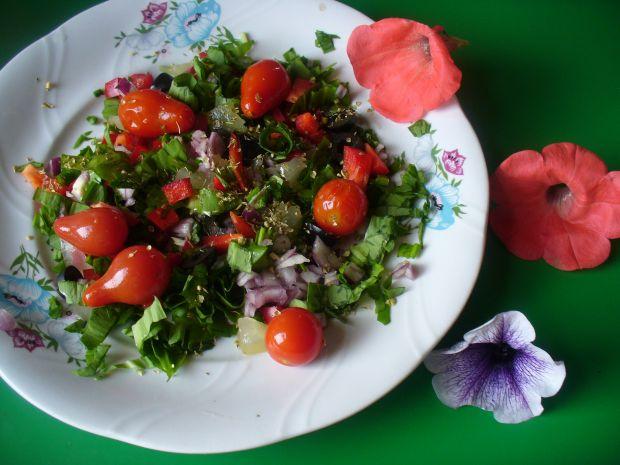 Sałatka z pomidorami koktajlowymi,oliwkami,papryką