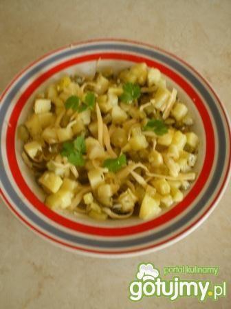 Sałatka z ziemniaków, ogórków i sera