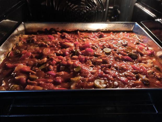 Schab pieczony w sosie pomidorowym