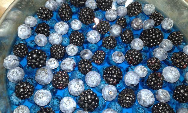 Sernik na zimno z owocami w kolorach końca lata
