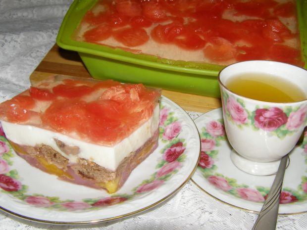 Sernik na zimno:brzoskwinie,arbuz,galaretki