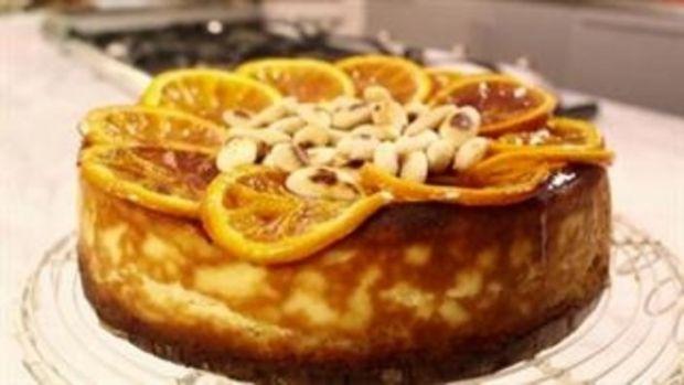 Sernik z ricottą, migdałami i pieczonymi pomarańcz
