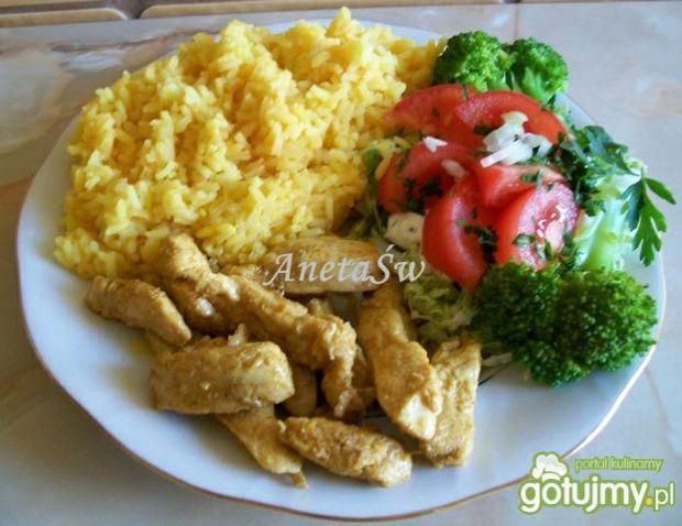 Shoarma z ryżem i sałatką