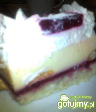 Śmietanowo-budyniowe ciasto z malinami
