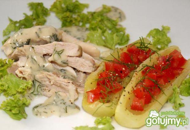 Sos koperkowy z gotowanym kurczakiem :