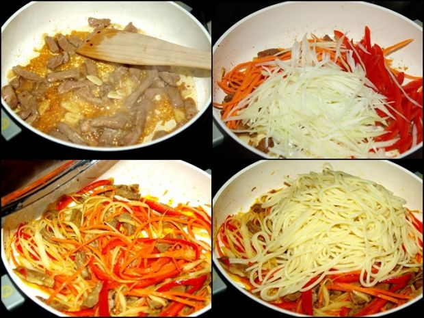 Spaghetti z wieprzowiną i warzywami