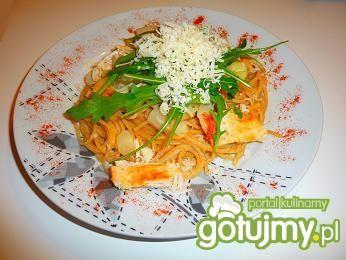 Spaghetti ze szparagami i indykiem