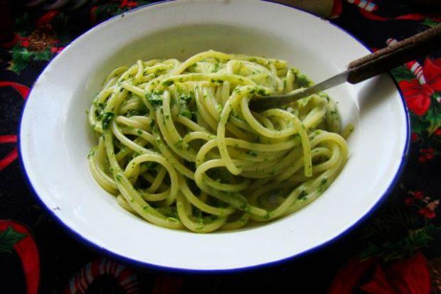 Spaghetti ze szpinakiem i słodką śmietanką
