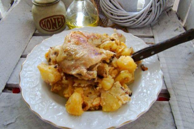Studencki obiadek- udko na smażonych ziemniakach