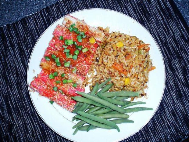 Surimi w Sezamie z Ryżem Curry
