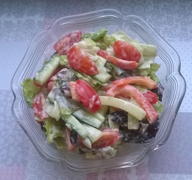 Surówka z sałaty rzymskiej, ogórka, papryki, pomid