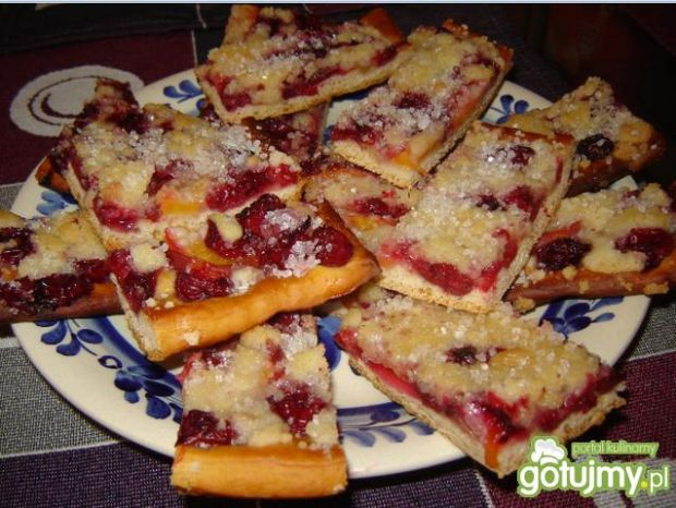 Szybkie ciasto na kruchym spodzie z owoc