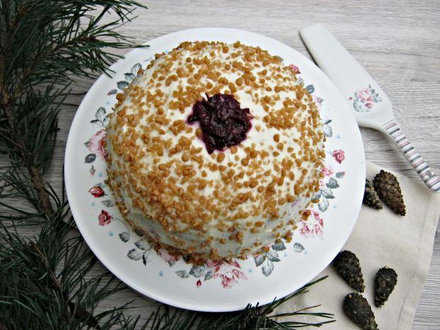 Tort chałwowo - wiśniowy