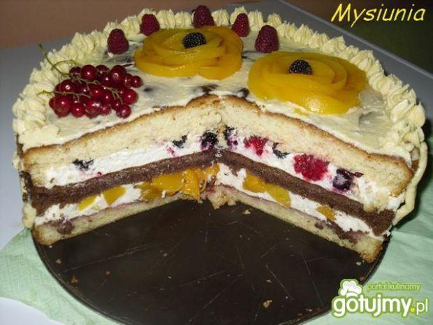 Tort malinowo – brzoskwiniowy
