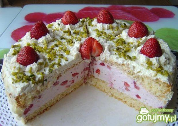 Tort Truskawkowo - Migdałowy