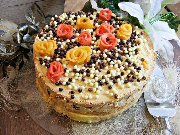 Tort z pianką cytrynową i kremem toffi