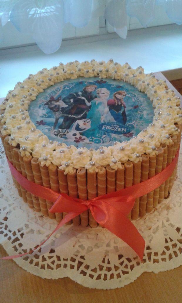 Inne rodzaje Przepis - Urodzinowy tort z opłatkiem bajkowym przepis - Gotujmy.pl OE76