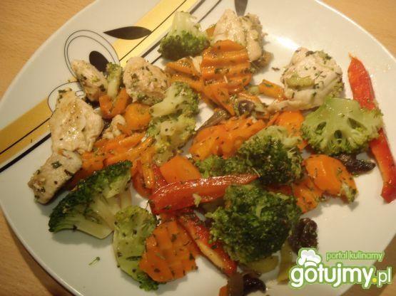 Warzywa z patelni z kurczakiem