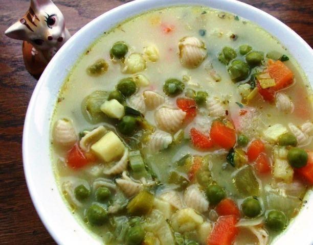 Warzywna zupka z makaronem i serkami