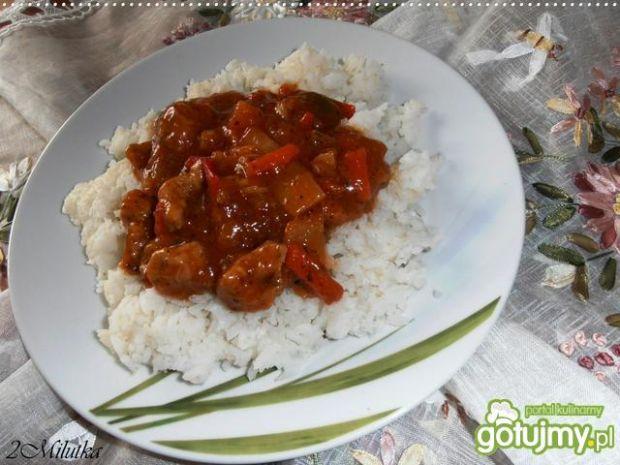 Wieprzowinka po chińsku z ryżem