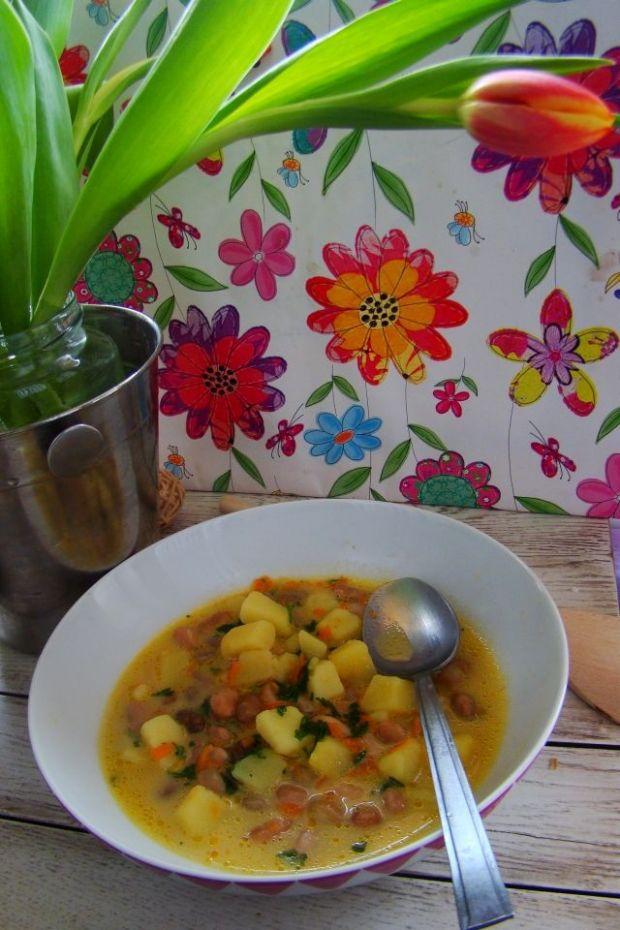 Wiosenna zupa z kolorowej fasoli