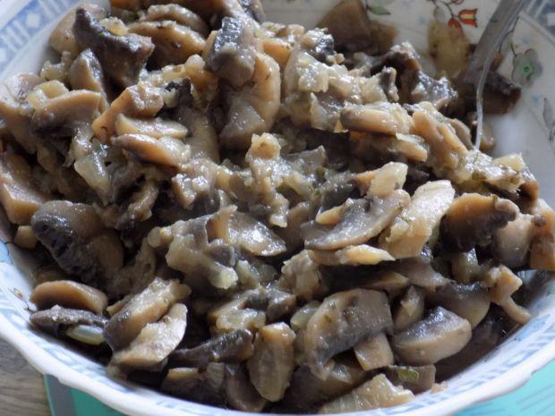Zapiekanka z domowego makaronu i pieczarek