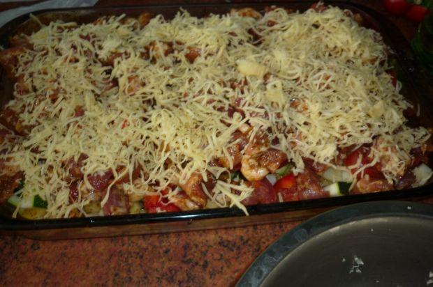Zapiekanka z gyrosem, pomidorem i ziemniakami