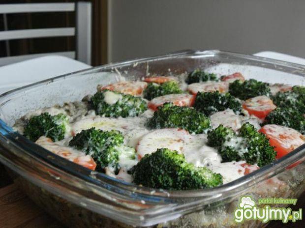 Zapiekanka z ryżem brązowym i wątróbką.