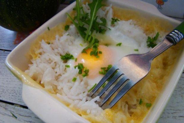 Zapiekanka z ryżu sera i jajka
