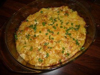 Zapiekanka z ziemniakami, boczkiem i brokułem