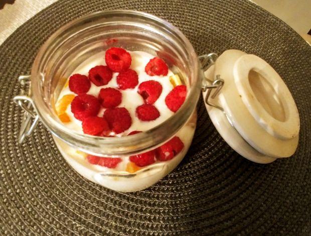 Zdrowy deser z owocami i płatkami owsianymi